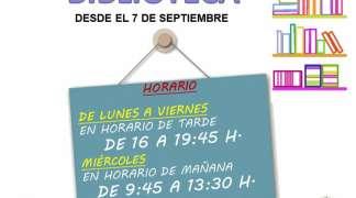 Desde el 07 de septiembre, nuevo horario de la Biblioteca