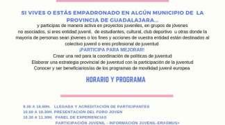 El próximo 8 de junio se celebrará el Foro Joven para avanzar en la igualdad de oportunidades de la juventud de la provincia