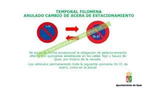 14/1 Gestión municipal de la borrasca Filomena en Quer: mañana clases online en el Instituto y otras informaciones de interés