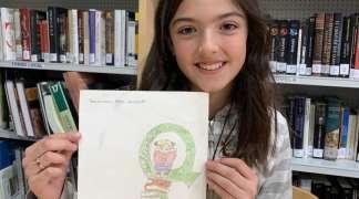 Un dibujo de Carla Marín ya es, para siempre, el logo de la Biblioteca de Quer